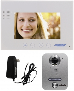 "Alpha Communications VK237WS 7"" MON COLOR VIDEOINTERCOM KIT INCLUDES 1-BUTTON SURF DOOR STATION / 1- 7"" SURFACE WHITE MONITOR AND POWER SUPPLY"